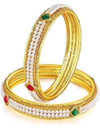 Jewels Galaxy Limited Edition Elegant Pearl & Ruby Designer Magnificent Gold Plated Traditional Bangle Set For...