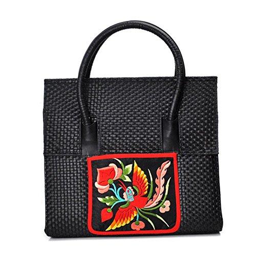 GBT Beweglicher Schulterbeutel multi-pattern Paket black multi embroidery mixed hair