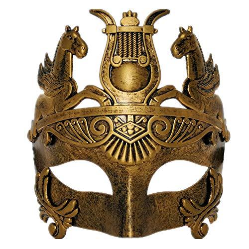 CCUFO Gold männliche griechische & römische Soldaten Männer venezianische metallische Maske für Maskerade / Party / Ball Prom / Karneval / Hochzeit / Wanddekoration (Römische Party Kostüm)