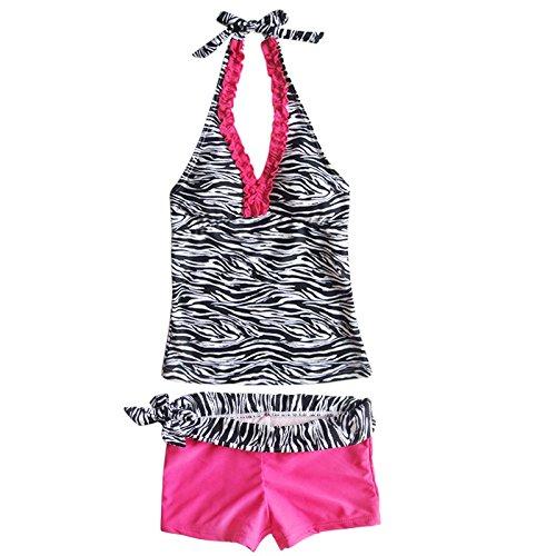 iEFiEL Mädchen Kinder Zebra 2tlg. Tankini Bikini Set Höschen Bademode Badeanzug (152, Rosa)