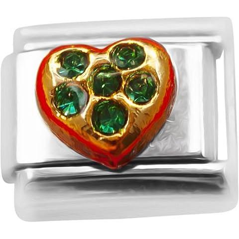 Verde oscuro may de corazón de piedra diseño de bandera de Italia para pulsera compatible con classic