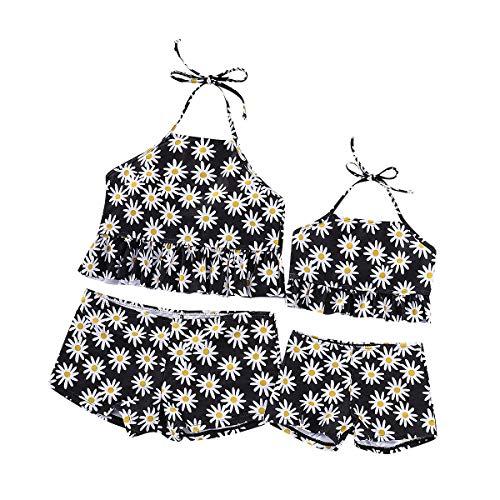 Chennie Mami und ich passender Badeanzug Zwei Stücke Sunflower Swimwear Beachwear Set (Color : Black, Size : Women S)