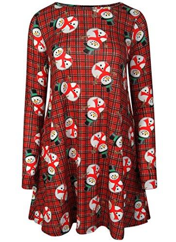FK Styles Frauen Kleid Langarm Weihnachtsweihnachts Neuheit Printed Partei Swing Tartan Snowman Swing Dress