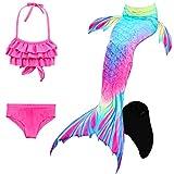 Le SSara Sea-cameriera cosplay costumi da bagno Mermaid Shell costume da bagno con pinna coda sirena nuotabile (130, DH52+WJF48-Black)