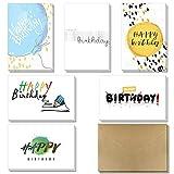 Geburtstagskarten - 36 Pack Happy Birthday Grußkarten in 6 handschriftlichen, modernen Styles von KUMY mit selbstklebenden Kraftumschlägen Große Auswahl für Kinder, Männer und Frauen, 4 x 6 Zoll