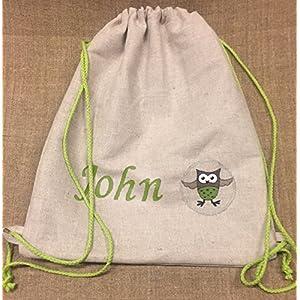 Personalisierte Leinen Rucksack Turnbeutel für Schule oder Kindergarten Leinen Tasche mit Namen Lustige Eule Applikation Minimalistischer Stil Einfacher Design