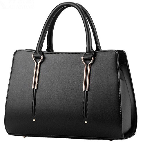 Joyousac Handbag PU Leather Hard Material Fashion Tote Bag For Women Red Black