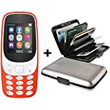 IKALL Combo Of Mobile Phone With Aluminium Credit Card Holder (Red And Silver)