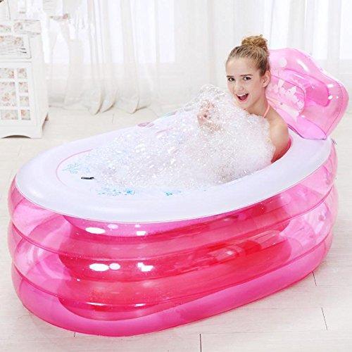 LIVY Im Erwachsenen aufblasbare Badewanne Badewanne Kunststoff klappbarer Wanne Badewanne für Kinder Lauf Bad Barrel verdickt , Pink