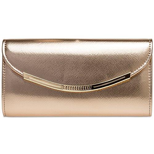 CASPAR TA383 elegante Damen Baguette Clutch Tasche/Abendtasche, Farbe:roségold;Größe:One Size