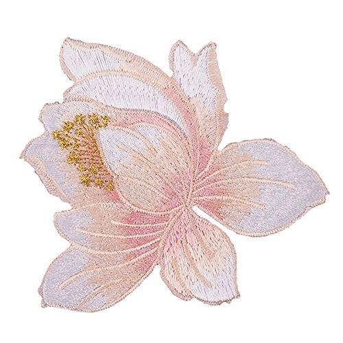 Eisen auf Patches, Lotus Patch Flower Aufnäher Patches, Beautiful Rose Blossom Stickerei-Applikation-1Stück Stickerei Aufnäher Patch für DIY Kleidung (8,5x 8,5cm) rose (Lotus Flower-bild)