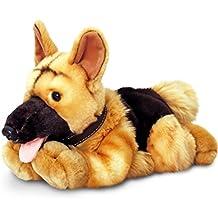 Keel Toys peluche perro pastor alemán, peluche tumbado aprox. 30cm, en Juego con Body Mantequilla cereza–Grosella, 7ml