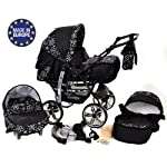 Kamil, Classic 3-in-1 Travel System with 4 STATIC (FIXED) WHEELS incl. Baby Pram, Car Seat, Pushchair & Accessories (3-in-1 Travel System, Black Flowers)