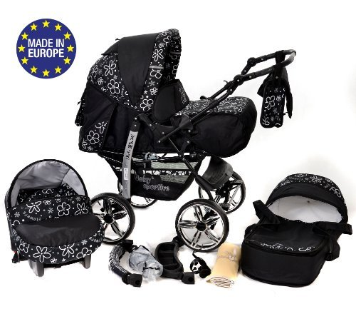 3-in-1 Travel System with Baby Pram, Car Seat, Pushchair & Accessories, Black Flowers  3-in-1 Travel System with Baby Pram, Car Seat, Pushchair & Accessories, Black Flowers 51RShVsf9aL