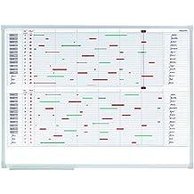 Franken VO-30 Kalender X-tra Line 30 Positionen (silbereloxierter Alurahmen) 120 x 90 cm, weiß