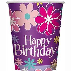 Partido Ênico 9 oz cumpleaños flor de papel Copas (paquete de 8)