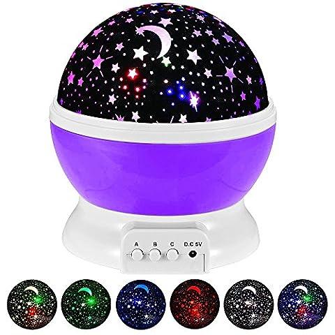 GRDE® Galaxy Constellation Table Veilleuse - 4 couleurs Vives avec 360 Projection Degré Moon Star et Rotation - Bébé Enfants Chambre et