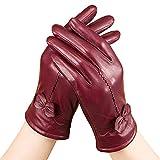 Warme Damen-Lederhandschuhe aus Nappaleder von LifeWheel, mit Kaschmir gefüttert, winddicht Gr. Medium, weinrot