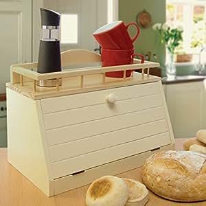 Great Ideas Wooden Bread Bin / Wood Bread Box With Front Opening Door And Top Shelf