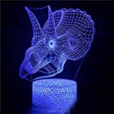 PPOUTDD 3D Optical Slide Light 7 Colori Touch Art Sculpture Light Con Cavo USB Camera Da Letto Desk Table Decorazione Luce Bambino Adulto Animale Dinosauro