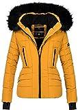 Navahoo Damen Winter Jacke warm gefüttert Teddyfell Stepp Winterjacke B361 (S, Gelb)