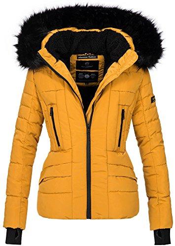 Navahoo Damen Winter Jacke warm gefüttert Teddyfell Stepp Winterjacke B361 (L, Gelb)