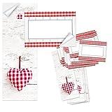 2 x 25 rot weiß karierte Aufkleber HERZ Geschenk-Aufkleber Geschenk-Etiketten Namensschilder selbstklebend Küchenaufkleber Haushaltsetiketten Verpackung Geschenke Weihnachten
