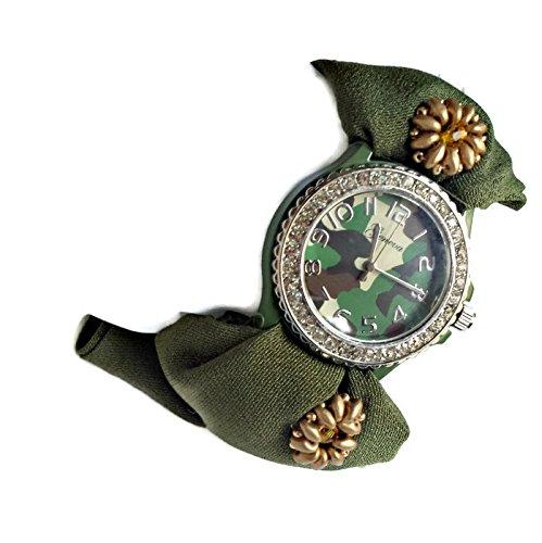Bracciale donna verde militare Orologio da polso quadrante mimetico Moda camuffata