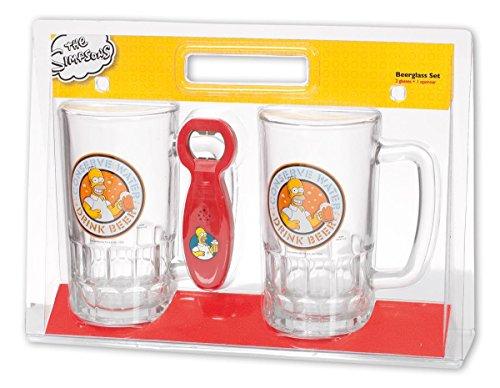 Unbekannt The Simpsons 2 Bierkrüge Homer Conserve Water Drink Beer inkl. Flaschenöffner