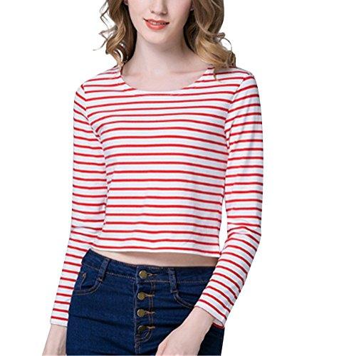 Brinny femme chemise rayée T-shirt au printemps Rouge