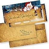 PREMIUM Gutscheine für Weihnachten Nordpol Express (25 Sets) mit Umschläge einfach Werte eintragen + Stempel, für Firmen