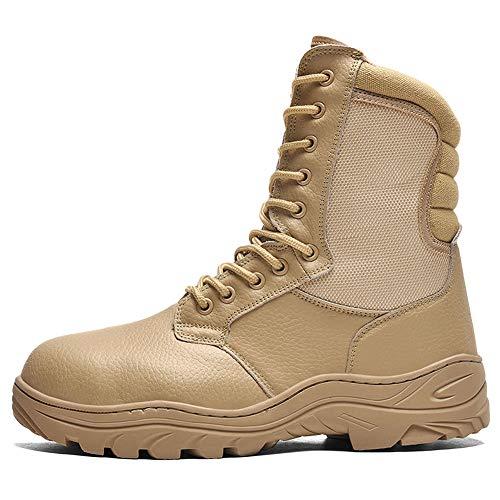 NDHSH Herren Echtleder Kampfstiefel Stahlkappe Schuhe High-Top-Stiefel Wanderschuhe Patrouillenstiefel Schnürschuhe Bergschuhe,Beige-42
