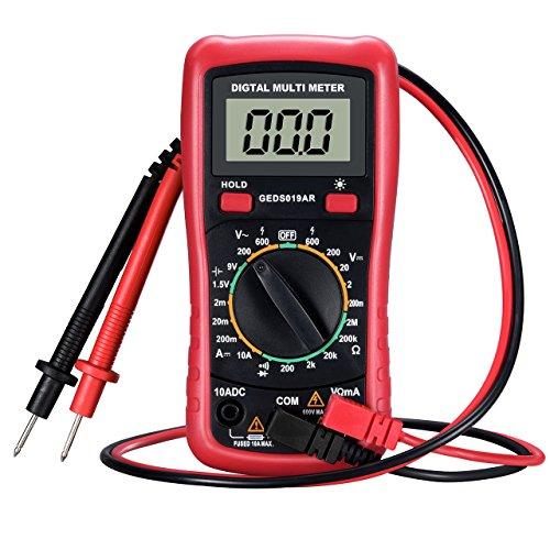 TOPELEK Multimetre Numerique Professionnel, Multimetre Fluke Portable, Testeur Courant/Tension 9V de Précision, Testeur de Pile avec Ecran LCD Rétroéclairé - Rouge