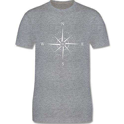 Statement Shirts - Kompassrose - Herren Premium T-Shirt Grau Meliert