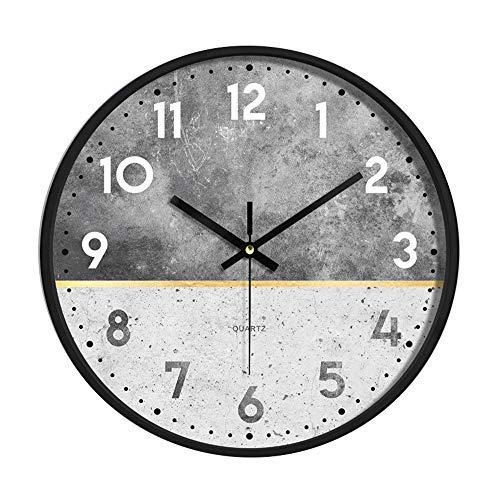 DXCsnowing Wanduhr Metallrahmen Glasabdeckung Nicht tickende Anzahl Quarz Wanduhr 12 Zoll Modernes Quarz Design Dekorativ Innen/Küche, Leicht zu Lesen (Super 7 Pendel)