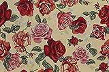 Raumausstatter.de Möbelstoff TIZIAN 501 Blumenmuster rot