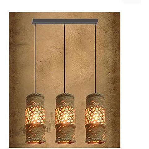 BJVB Cáñamo araña 3 vela cuerda recta techo (luces de la cuerda de cáñamo)