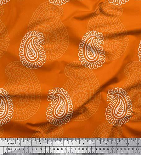 Soimoi Orange Baumwoll-Voile Stoff Blätter & Paisley Block Stoff drucken 1 Meter 56 Zoll breit - Voile Paisley