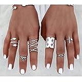 reixus (TM) 8\ Set Vintage Bohemian Style Vintage Anti Silber Ringe für Frauen Tibetische Infinity Pfeil Punk BoHo Ringe Set