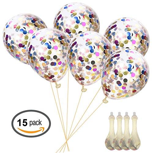 i Ballons für Hochzeit und Geburtstag Party Dekorationen, Zeremonie(15 Stück, Mundstück enthalten) (Konfetti Gefüllte Ballons)