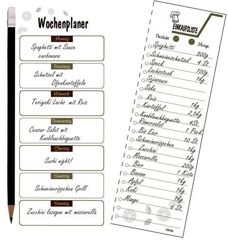 Libetui Wochenplaner mit Shoppinglist Essenplaner Einkaufsliste Todo Liste, Magnetischer Menüplaner, Notizblock Kühlschrankblock DIN A5 (Kaffee)