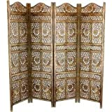 Tayyaba Enterprises 4 Panel Handcrafted Wooden Partition/Wooden Screen/ Wooden Room Divider/Wooden Room Seperator/Separator For living Room/Office/ Wooden ...