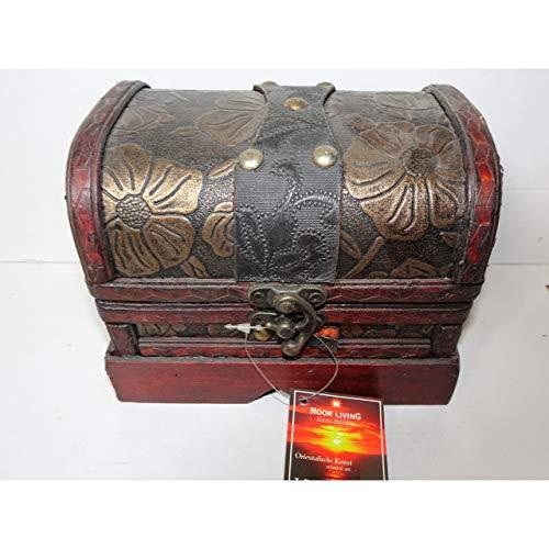 1a-becker Dekorative Holztruhe mit Kunstleder und Beschlägen 15cm Schatztruhe Piratenkiste -