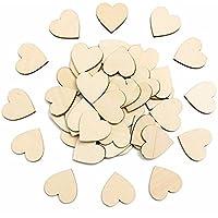 Pixnor Adorno de corazón de madera para manualidades Pack de 80pcs