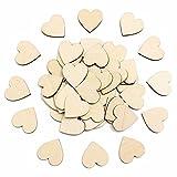 Pixnor Adorno de corazón de madera en blanco para manualidades Pack de 50, 6cm
