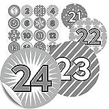 """24 Aufkleber-Zahlen """"Duo Grau"""" - Sticker für Adventskalender zum Basteln und Befüllen - In 11 verschiedenen Farben erhältlich"""