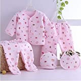 Gilli Shopee Newborn Baby Soft Feel Cotton Polyester Blend Top Pyjama with Cap and Bib Set for Born Babies for Winter 0…