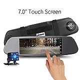 17,8cm touch screen Mirror Dual Dash fotocamera 1080p IPS con visione notturna, telecamera auto registratore con G-Sensor, registrazione in loop, sostegno parcheggio monitor