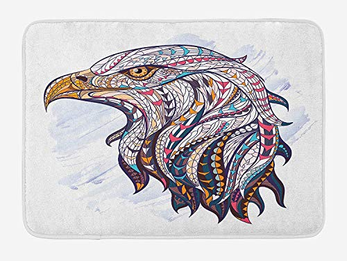 CHKWYN Eagle Bath Mat, African Culture Elements on The Head of The Huge Hunter Bird Watercolor Drawing Style, Plush Bathroom Decor Mat with Non Slip Backing, 23.6 W X 15.7 W Inches, Multicolor