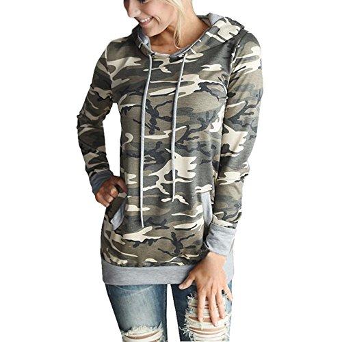 WOCACHI Frauen Camouflage Tarnung Druck Tasche Hoodie Hoodies Tops Bluse (M, Tarnung)